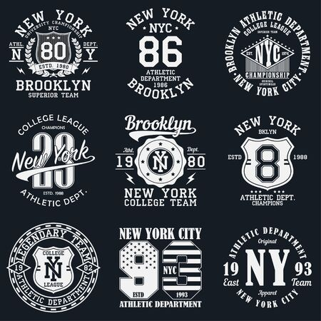 New York, Brooklyn typography. Set of athletic print for t-shirt design. Graphics for sport apparel. Collection of tee shirt badge. Vector illustration.