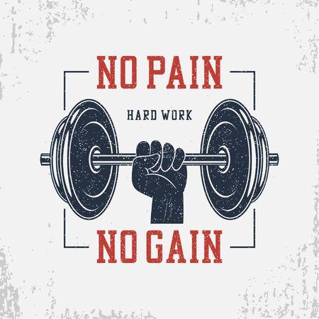 Kein Schmerz kein Gewinn. Typografie für Bodybuilding-T-Shirt mit Hantel und Hand. Motivationaler GYM-Druck für Kleidung, Banner, Poster. Grafiken für sportliches T-Shirt mit Grunge. Vektor-Illustration.