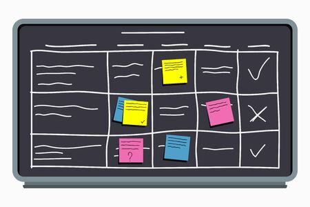 Planning board with sticky notes. Task board with table scheme and office schedule. Vector.