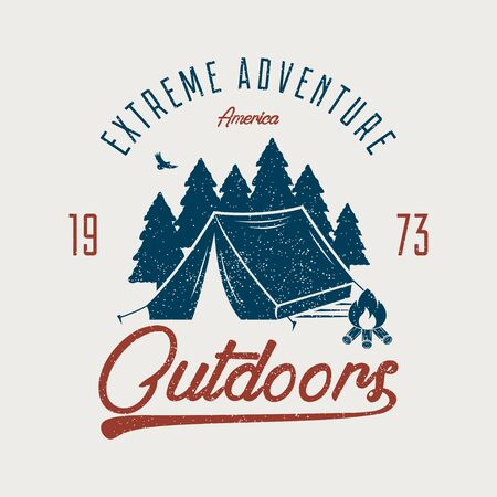 Adventure typography graphic for t-shirt. Outdoors t shirt print with camping tent, forest and bonfire. Vintage outdoor expedition stamp with grunge. Vector illustration.