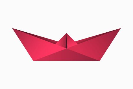 Origami paper boat. Geometric shape of folded paper. Template for logo with ship in origami style. Vector illustration.