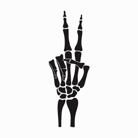 Peace sign of skeleton hand, gesture made of fingers bones. Vector illustration.