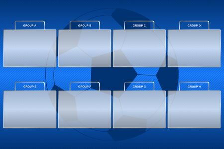 Soccer championship groups scheme. Football tournament group bracket at blue background with ball. Vector. Vettoriali