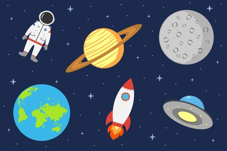 Space illustration with astronaut, planet, rocket, moon and ufo. Cosmic background in flat style. Vector. Vettoriali