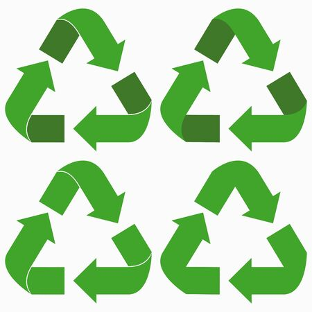 Green recycle arrows set. Vector illustration.