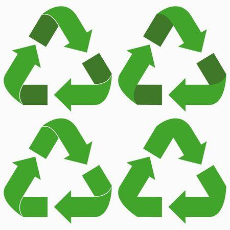 Zestaw zielonych strzałek recyklingu. Ilustracja wektorowa.