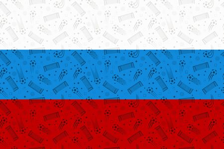 Russia flag decorated with soccer symbols. Russian country colors background with football elements. Seamless pattern for advertising banner, poster. Vector.