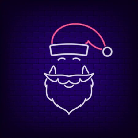 Neon sign of Santa Claus hat and beard. New Year and Christmas night glowing signboard. Vector illustration. Illustration