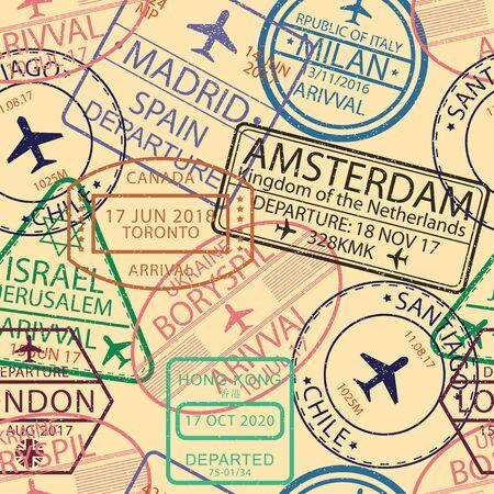 Modèle sans couture de timbres de visa. Arrière-plan avec cachet de l'aéroport pour passeport. Toile de fond de signe de visa d'immigration et de voyage. Illustration vectorielle. Vecteurs