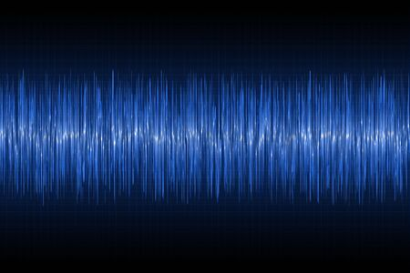 Sound waves oscillating on technology background. Blue glow music wave. Vector illustration.