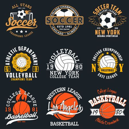 Tipografía de juegos deportivos: fútbol, voleibol y baloncesto. Conjunto de estampado atlético para diseño de camiseta. Gráficos para ropa deportiva. Colección de insignia de la camiseta. Vector.