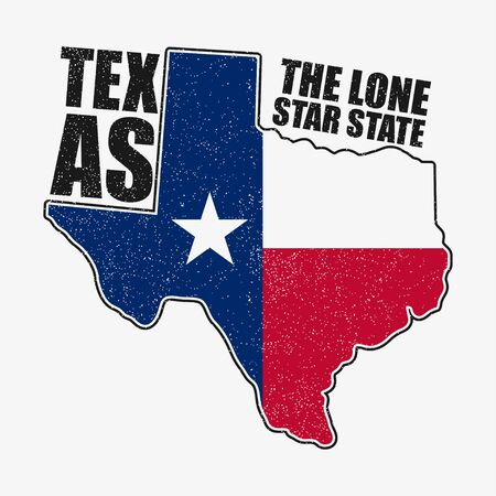 Texas typography graphics for t-shirt with flag and map of state. Grunge print for apparel, clothes. Vector illustration. Ilustración de vector