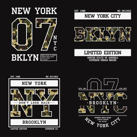 Set of graphic design for t-shirt with camouflage texture. New York tee shirt print with slogan. Brooklyn apparel typography with in military and army style. Vector illustration. Illusztráció