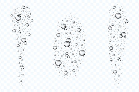 Underwater air bubbles flow set isolated on transparent background. Realistic fizzing oxygen bubbles under water. Fizzy drink or champagne gas. Vector.