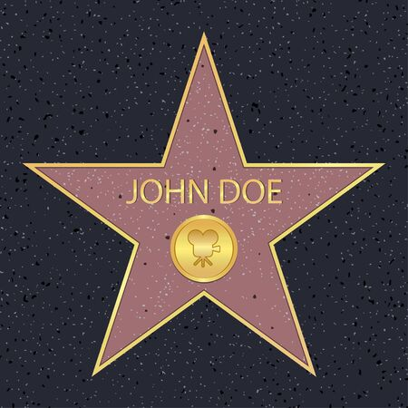 Hollywood walk of fame star for movie actor.  Famous sidewalk with celebrity reward symbol. Vector illustration. Vectores