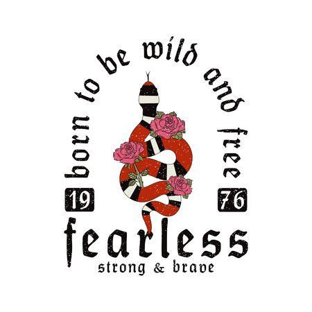 Slogan typography with snake and rose flowers. Vintage t-shirt graphics, design for tee shirt print. Vector illustration. Reklamní fotografie - 127855360