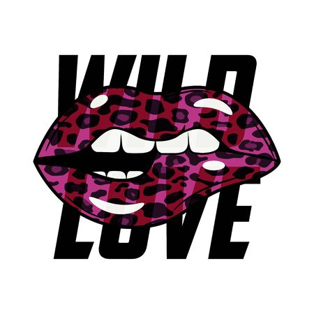 Wild Love slogan typography with leopard lips texture. Fashion t-shirt design. Girls tee shirt trendy print. Vector illustration. Çizim