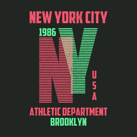 New York typography for t-shirt. Brooklyn modern graphics for tee shirt with lines. Slogan NY for trendy apparel print, athletic clothes design. Vector illustration.