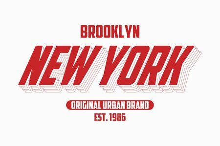 New York modern typography slogan for t-shirt. Brooklyn tee shirt graphics, urban brand print. Vector illustration. 矢量图像