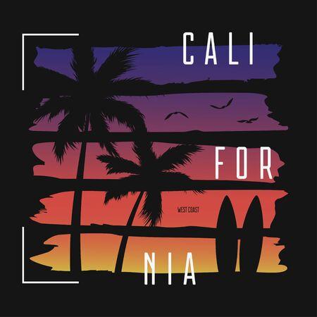 Kalifornien-T-Shirt-Typografie mit Farbverlaufsbürsten und Palmen-Silhouetten. Trendiges Bekleidungsdesign. Surf-T-Shirt-Print. Vektor-Illustration. Vektorgrafik