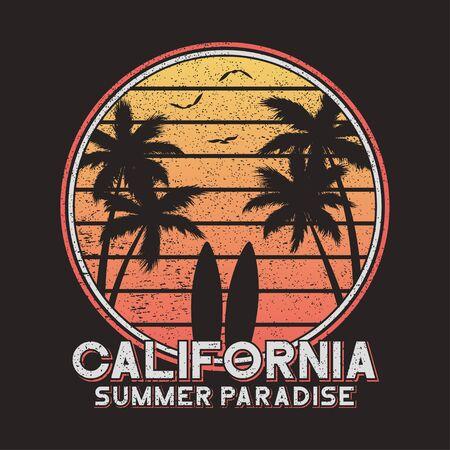 Tipografía de lema de California para ropa de diseño, camisetas. Diseño de camiseta de surf con palmeras y tabla de surf. Gráficos para producto impreso. Ilustración de vector.