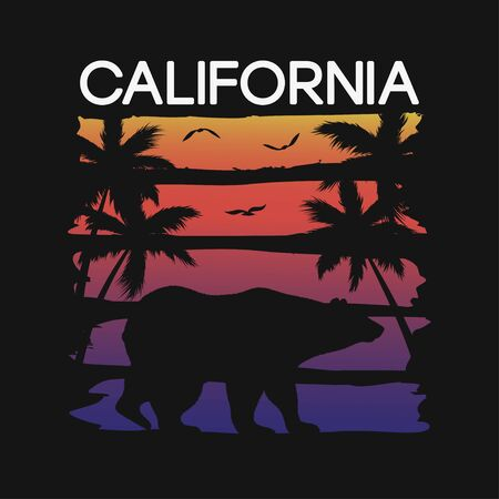 California slogan for t-shirt typography with bear and palm trees silhouettes. Graphics for tee shirt design. Vector illustration. Banque d'images - 127855383