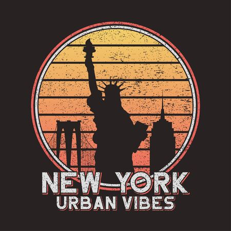 New York slogan typography for design t-shirt with city buildings. NYC original grunge print for tee shirt. Vector illustration.