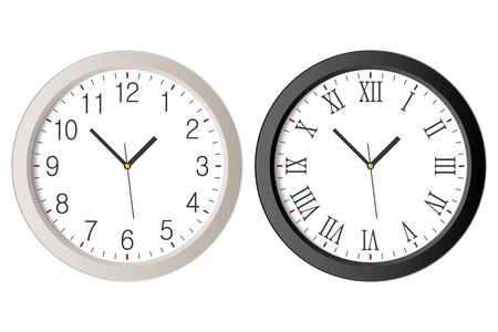 Realistic wall clock set with black Roman numerals and white clock-face dial with Arabic numerals. Vector.