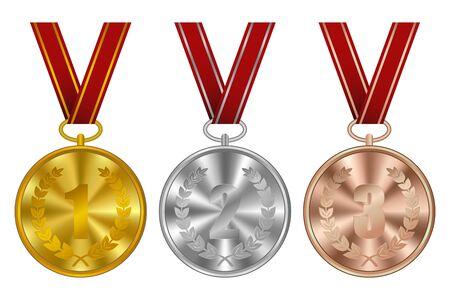 Medallas, premios ganadores. Medalla deportiva de oro, plata y bronce con cinta roja. Ilustración de vector.
