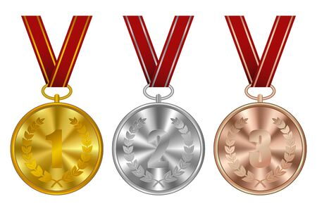 Medals, winner awards. Golden, silver and bronze sports medal with red ribbon. Vector illustration.