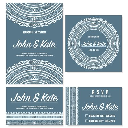 Wedding invitation cards template with lace decoration. Vector illustration.