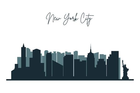 Silhouette of New York city. NYC urban skyline with skyscrapers, buildings and liberty statue. Vector.