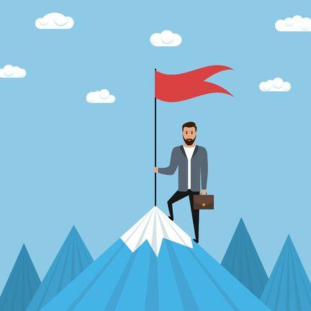 L'homme d'affaires tient la hampe au sommet de la montagne. Concept de réussite en affaires. Illustration vectorielle.