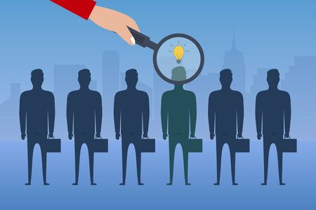Hand with a magnifying glass chooses an employee with an idea from group of businessmen. Recruitment concept. Business hiring. Vector.