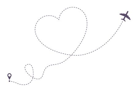 Love airplane dotted line path. Air plane route in heart form, hearted aircraft way. Vector illustration.