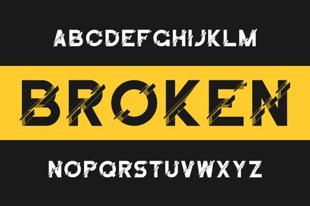 Broken glitch font. Modern sans-serif alphabet with distortion. Vector font with broken effect.