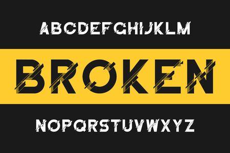 Carattere glitch rotto. Alfabeto sans-serif moderno con distorsione. Carattere vettoriale con effetto rotto.