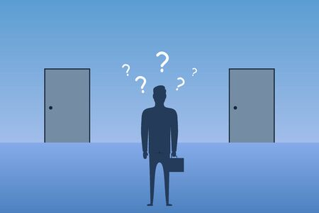 Businessman standing in front of closed doors and choosing in which door to enter. Concept of choice the best way in business. Vector illustration.