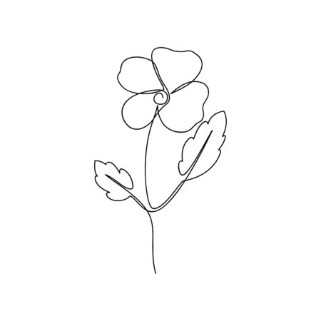 Continuous line flower. One line drawing of viola flower. Hand-drawn minimalist illustration. Vector.