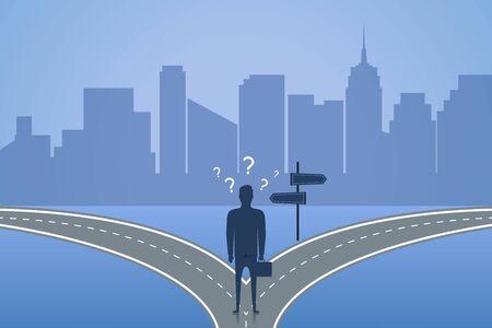 Geschäftsmann, der auf der Kreuzung steht und den Weg wählt. Konzept der Wahl die beste Lösung für die Zukunft oder das Geschäft. Vektor-Illustration.
