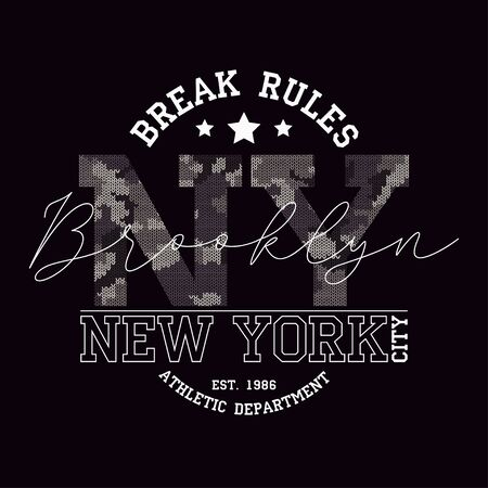New York, Brooklyn t-shirt design with slogan - Break Rules and knitted camouflage texture. Typography graphics for tee shirt in military and army style with knit camo. Vector illustration. 矢量图像