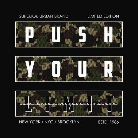 Supera tu límite: eslogan de camuflaje tejido para el diseño de camisetas. Gráficos tipográficos de Nueva York para camiseta en estilo militar y militar con camuflaje de punto. Ilustración vectorial.