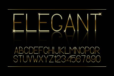 Golden thin font. Elegant gold alphabet. Brilliant golden typeface. Vector illustration. Standard-Bild - 127855454