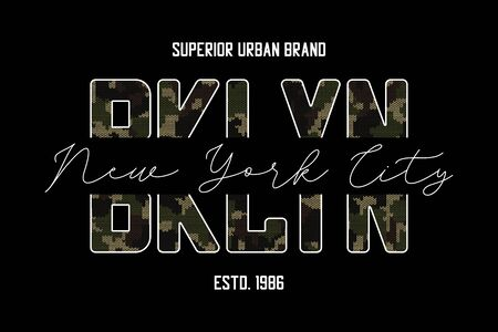 Brooklyn slogan t-shirt design with knitted camouflage texture. Typography graphics for New York tee shirt in military and army style with knit camo. Vector illustration.