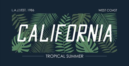 California slogan t shirt with tropical leaves. Typography graphics for tee shirt with monstera and palm leaf. Vector illustration.