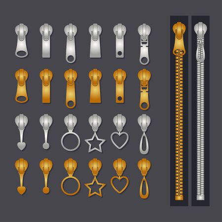 Metallic zippers set. Gold and silver zip fastener and pullers. Fashion elements for fabric design and clothes. Vector illustration.