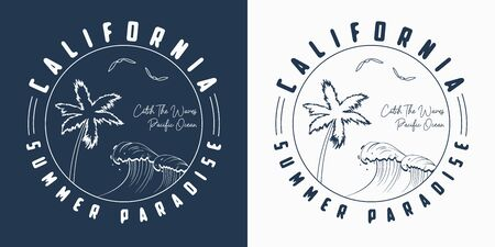 California t shirt design with hand drawn palm trees and waves. Slogan tee shirt typography. Vector illustration.