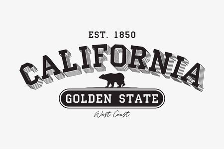 California modern typography for t-shirt. California college tee shirt with grizzly bear. Golden State slogan.