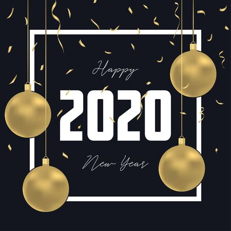 2020 New Year greeting card with gold Christmas balls, golden confetti and frame. Holiday decoration background for rat year. Illusztráció
