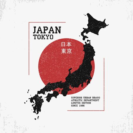 T shirt design with Japan map. Typography graphics for  tee shirt with grunge and inscription in Japanese with the translation: Japan, Tokyo.